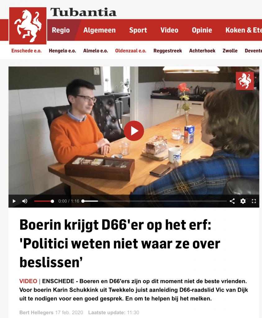 Schermafbeelding website Tubantia artikel Boerin krijgt D66'er op het erf